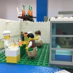 Vista lateral del laboratori i del lavabo